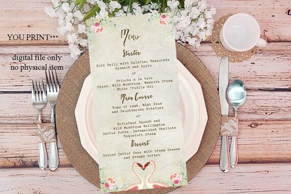 printable custom menu, custom wedding menu, digital custom menu, flamingo wedding menu, customized menu, instant download, you print
