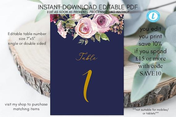 wedding table numbers, printable table numbers instant download, editable template, wedding printable, purple roses, templett, 7x5, navy