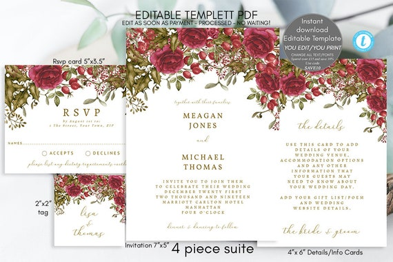 Christmas Wedding Invitations.Christmas Wedding Invitation Winter Wedding Invitations Printable Wedding Invitation Set Editable Wedding Invitation Suite Templett