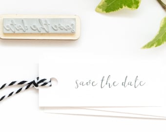 Save the date rubber stamp, DIY wedding, wedding invitation stamps, handletter save the date, modern calligraphy stamp, wood mounted