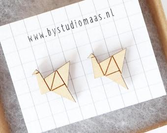Origami crane earrings, wood jewelry, minimalist jewelry, origami bird earrings, laser cut earrings, for bird lovers , stud earrings