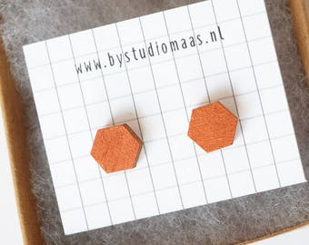 Birch wood earrings, wood stud earrings, copper colored, hexagon earrings, geometric, minimalist, wedding, gala, wood jewelry