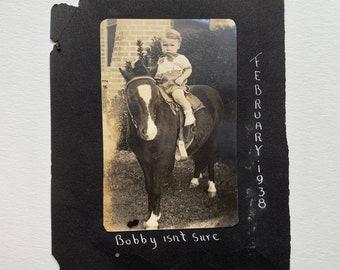 Early Twentieth Century Photos 1 Metal Mounted Masons Plaque Boy on Pony 2pc lot    5309Li