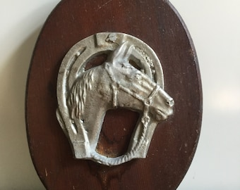 Vintage Equestrian Aluminum and Wood Horse and Horse Shoe Plaque