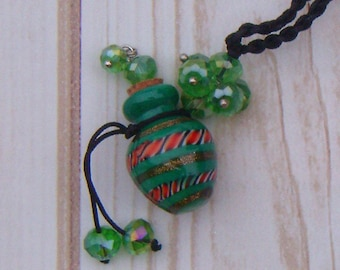 Glass Bottle Necklace, Essential Oil, Perfume, Glass Vial, Assorted Colors