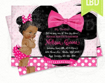 Minnie mouse baby shower etsy minnie mouse baby shower invitation baby girl minnie style v5 pink and black you print filmwisefo