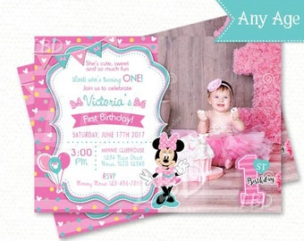 Minnie Mouse 1st Birthday Invitations, Pink and Aqua -Style 1 - YOU PRINT