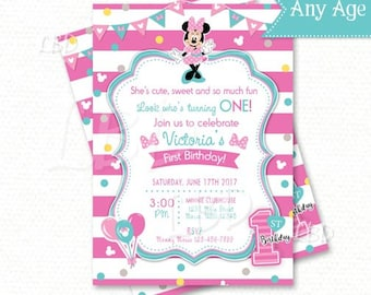 Minnie Mouse 1st Birthday Invitations, Pink and Aqua -Style 2 - YOU PRINT