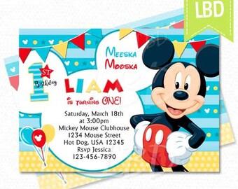 mickey invitation etsy