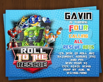 Rescue Bots Invitation Birthday Invitations Party Supplies Printables Style 5 YOU PRINT