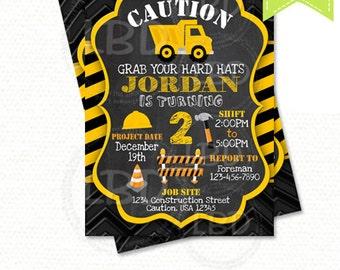 Construction Birthday Invitation, Dump Truck Invitation, Chalkboard Invitation - Style 1 - YOU PRINT