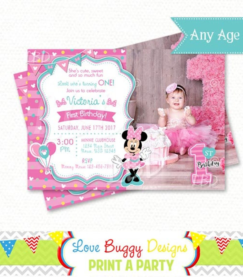 Minnie Mouse 1st Birthday Invitations Pink And Aqua Style 1