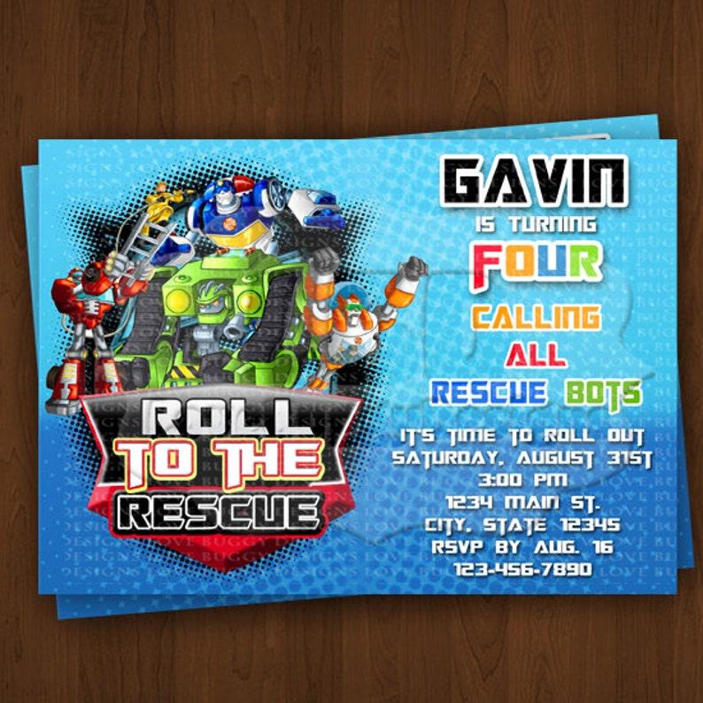 Rescue Bots Invitation Birthday Invitations