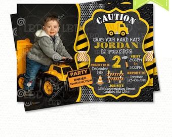 Construction Birthday Invitation, Dump Truck Invitation, Chalkboard Invitation - Style 4 - YOU PRINT