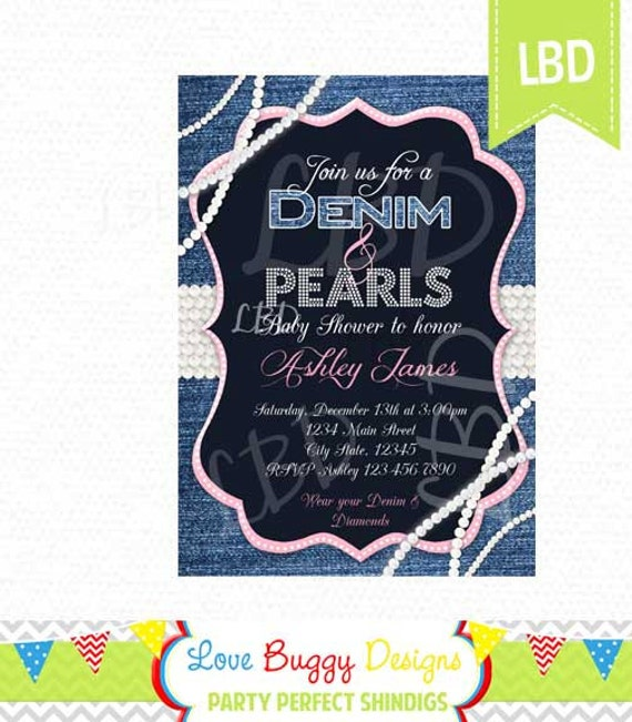 denim pearls baby shower invitation you print etsy
