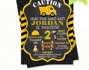 Construction Birthday Invitation, Dump Truck Invitation, Chalkboard Invitation - Style 2 - YOU PRINT