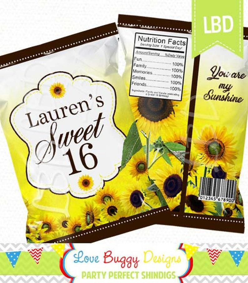 Candy Bag Sunflower Chip Bag Printable Any Age Girl 4.5 x 7- YOU PRINT Party Bags Favor Bag