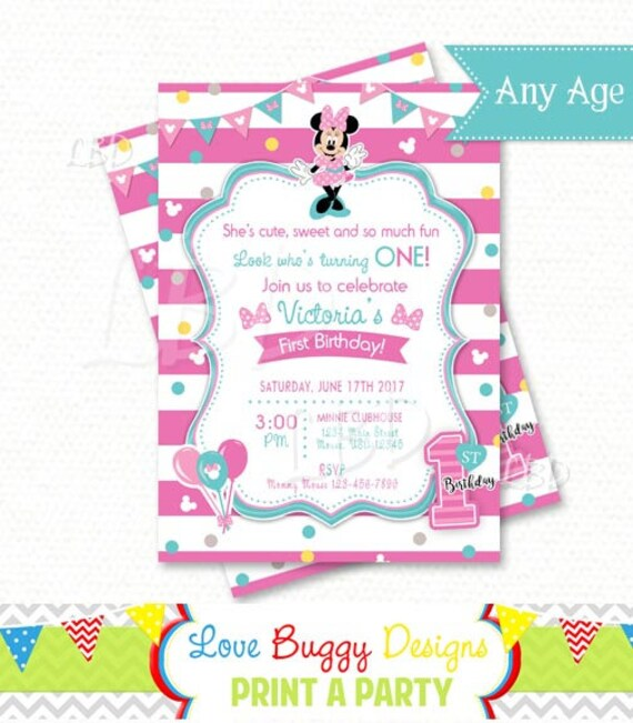 minnie mouse 1st birthday invitations pink and aqua style 2 etsy