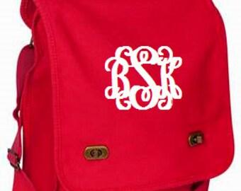 Poppy Monogrammed Messenger Bag/Personalized Messenger Bag/Canvas Messenger Bag/Womens Messenger Bag/Crossbody Bag