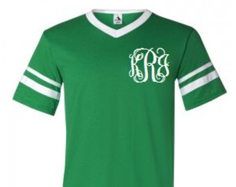 Adult and Kids Kelly Green Monogrammed V-Neck Baseball Jersey with Striped  Sleeves efee510a0