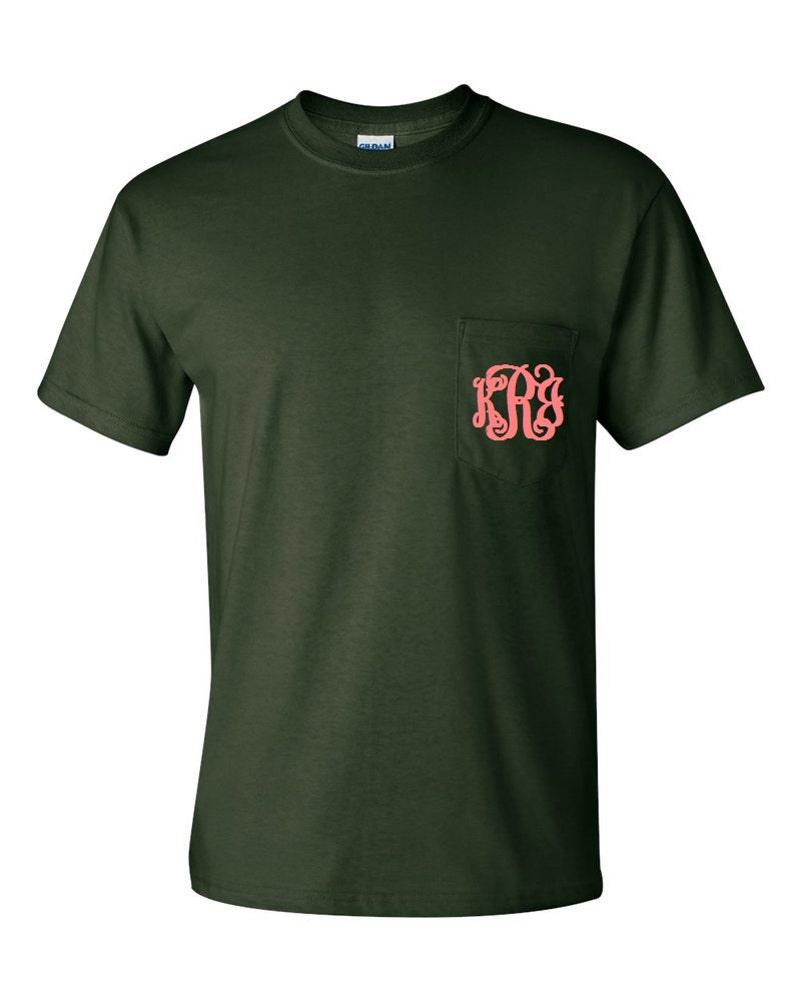31098c134b4f3 Forest Green Monogrammed Pocketed Tees/Monogrammed Pocket Tees/Monogrammed  Tees