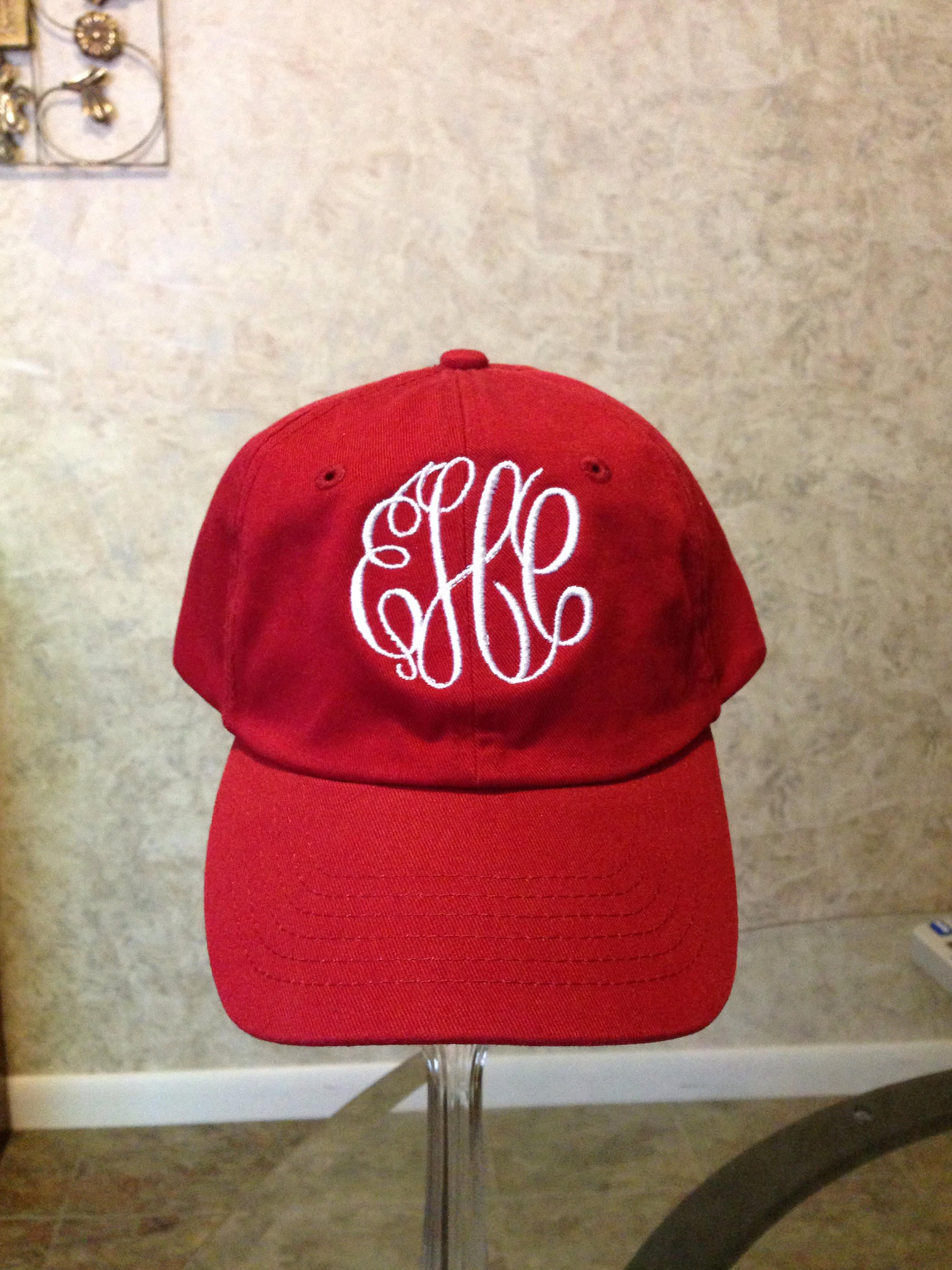 d788dab7 Womens Cardinal Red Hat with White Monogram/True Colored Hats/Personalized  Baseball Hats/Monogrammed Hats
