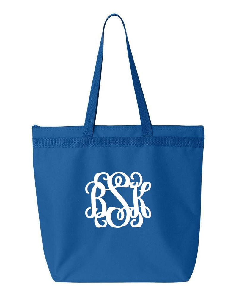 Monogrammed Royal Blue Large Zippered ToteLarge ToteMonogrammed GiftsChristmas GiftsVinyl