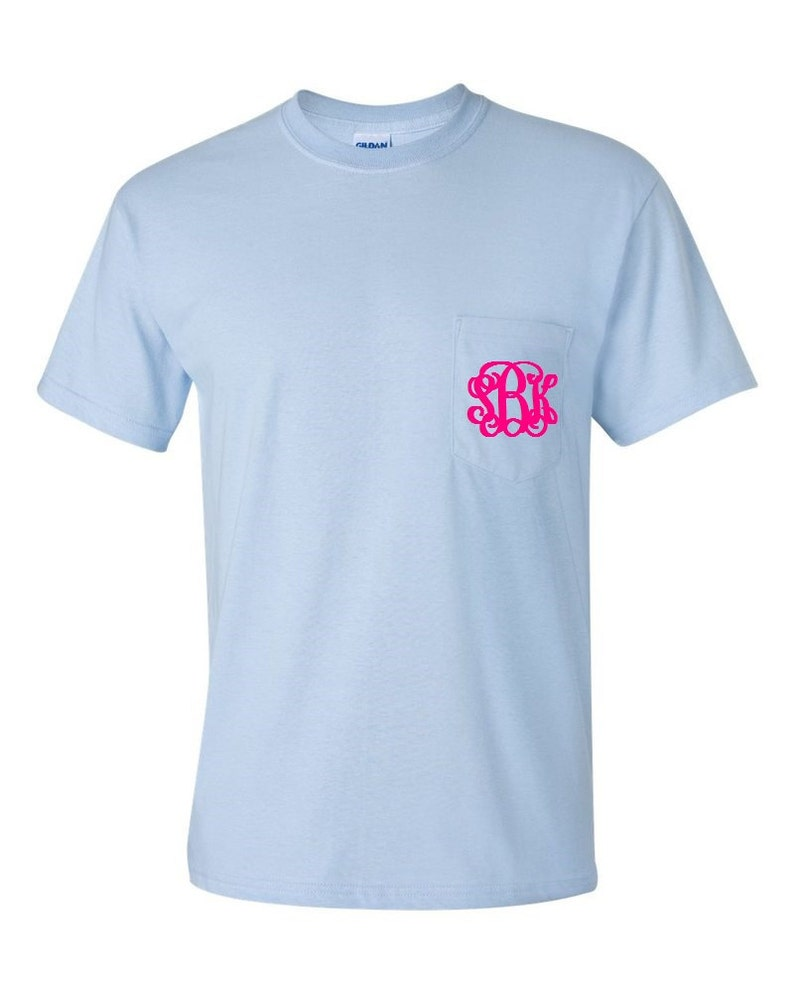 0f4002a29da7e Light Blue Monogrammed Pocketed Tees/Monogrammed Pocket Tees/Monogrammed  Tees