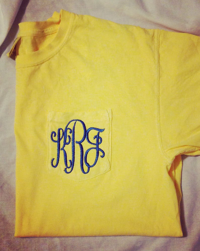 7a52ebb5812c6 Butter Yellow Comfort Colors Monogrammed Pocketed Tee/Monogrammed Pocket  Tees/Monogrammed Tees