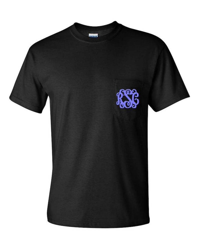 5a19ea520d185 Black Monogrammed Pocketed Tees/Monogrammed Pocket Tees/Monogrammed Tees