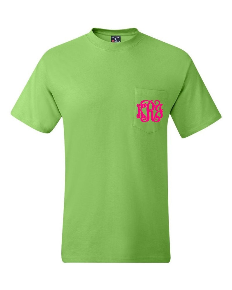 da4f75be9a3e7 Lime Green Monogrammed Pocketed Tees/Monogrammed Pocket Tees/Monogrammed  Tees