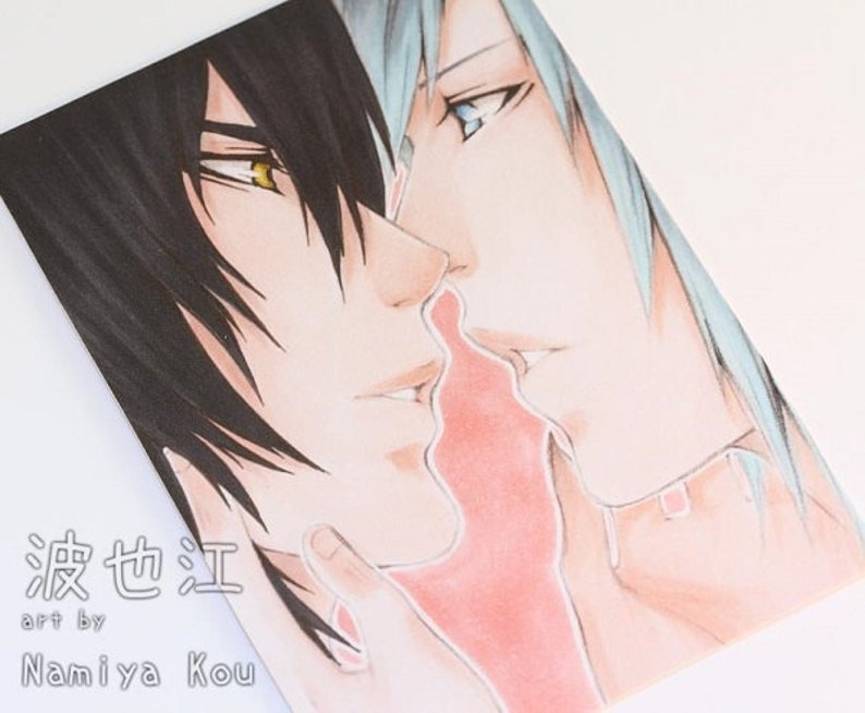 Fantasy Manga Illustration /'I Want.../'  Boys Love Pairing Sky and Kiyo ATC Print Yaoi Manga ACEO Print Shounen Ai Love Scene