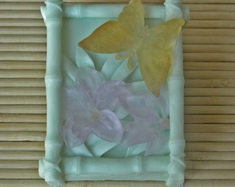 Bamboo, Butterfly, and Flower Shea Butter Soap - Decorative Soap - Gift Soap - Vegan Soap