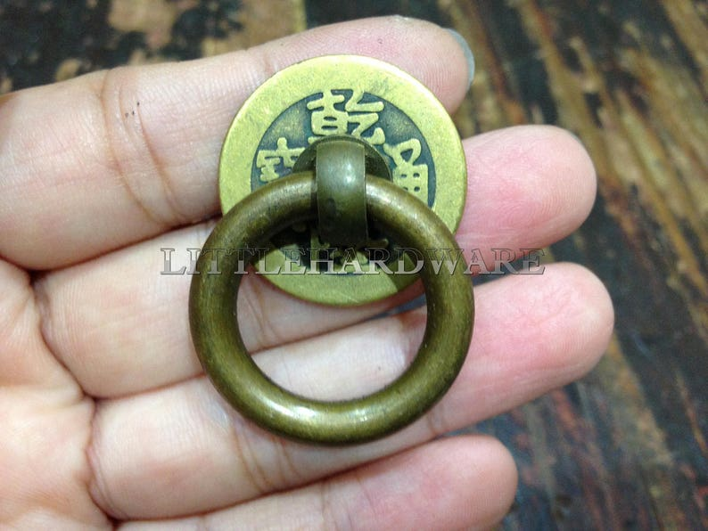 4Pcs Brass ring pulls,Chinese antique coin base drawer pulls Ring Pulls  Cabinet Knob Pull Handles  Vintage Furniture Knobs Handle DP0471