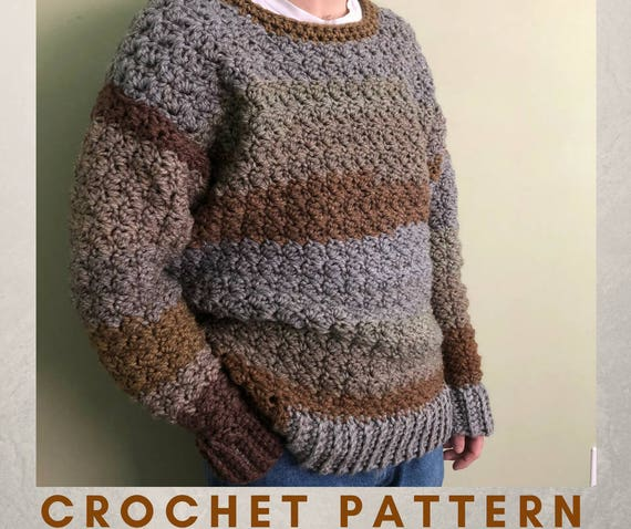 Mens Casual Sweater Crochet Pattern Easy Crochet Sweater Pattern