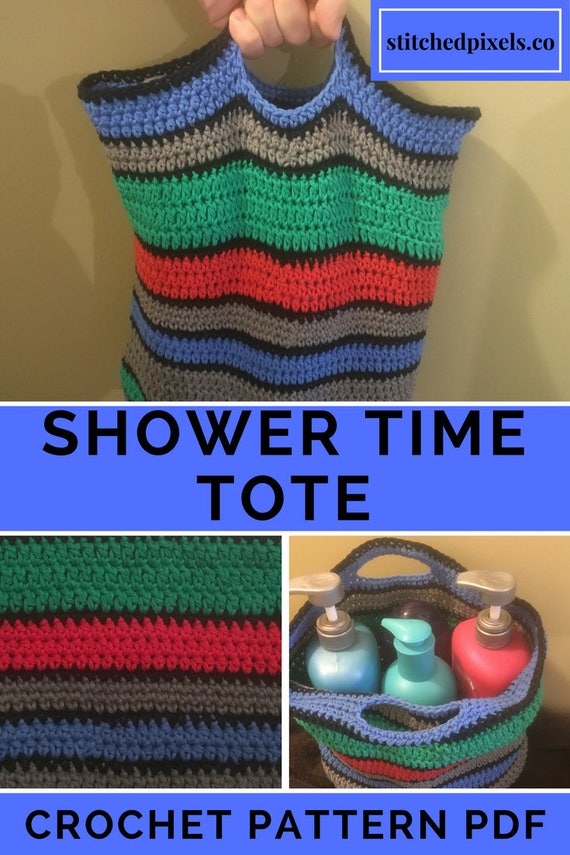 Shower Time Tote Crochet Pattern Pdf Easy Photo Tutorial Cotton