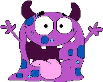 Sweet Little Purple Monster Cross Stitch Pattern