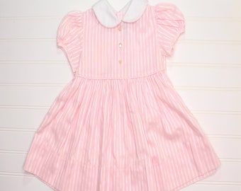 1f4464a3c81e1 Vintage baby dress. light pink striped with white collar and three pearl  mock buttons, Jayne Copeland sz 2T