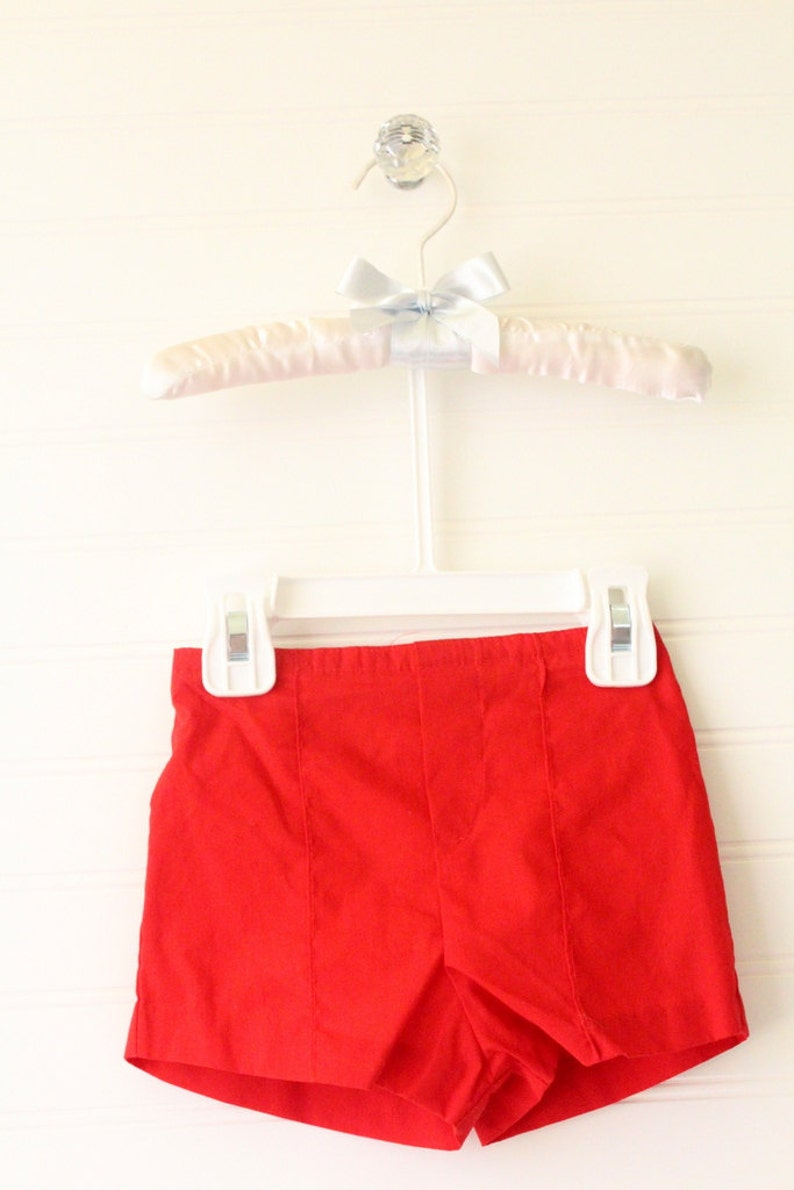 Vintage baby boy outfit White button up shirt with blue striped sleeves and collar and red shorts No name sz 12 Mo