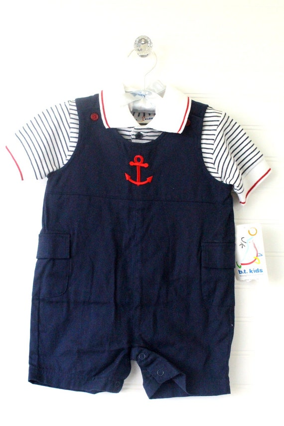31639cc1019a Vintage navy blue baby romper with Anchor detailing and