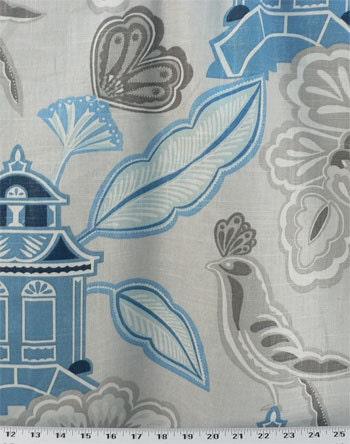Tissu d'ameublement tissu, tissu oiseaux rideaux, oiseaux tissu tissu, tissu housse/housse de couette, fleurs bleu/gris, CottageGardenFabric, décor à la maison. c0abf8