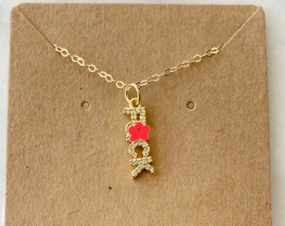 Rhinestone F*CK Necklace With Goldfilled Chain - Mature
