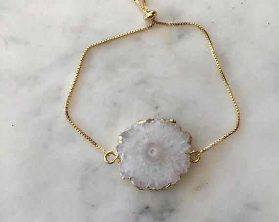 Opal White Solar Quartz Crystal Gold Slide Bracelet