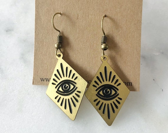 All Seeing Eye Diamond Earrings Protection