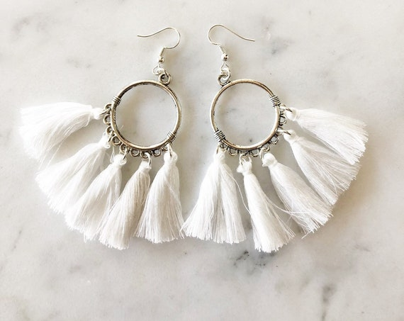 Silver Hoop with White Tassel Fringe Hoop Earrings