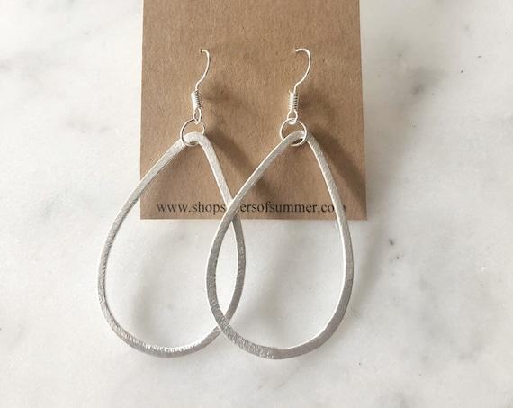 Silver Teardrop Shaped Drop Earrings