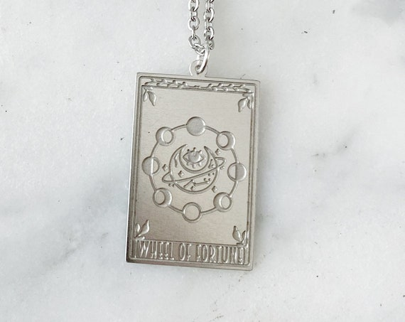Silver Moon Wheel of Fortune Tarot Card Charm Necklace