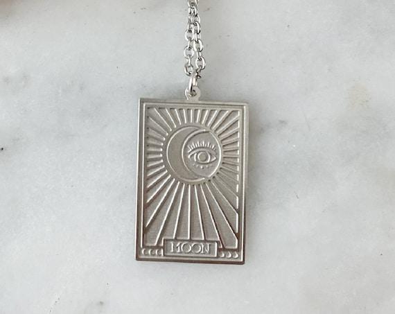 Silver Moon Tarot Card Charm Necklace