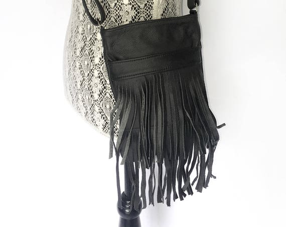 Genuine Black Leather Fringe Purse Bag Crossbody