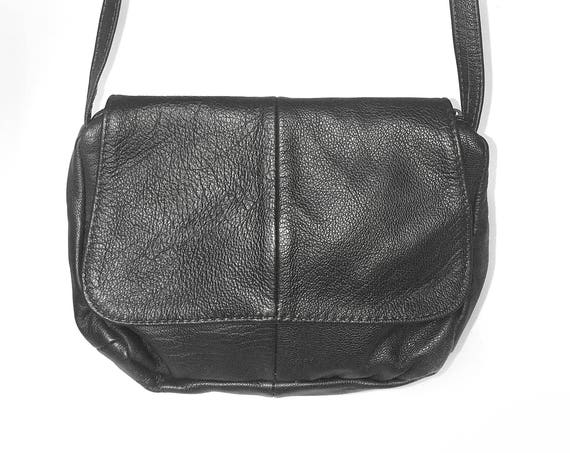 Small Genuine Black Leather Purse Bag